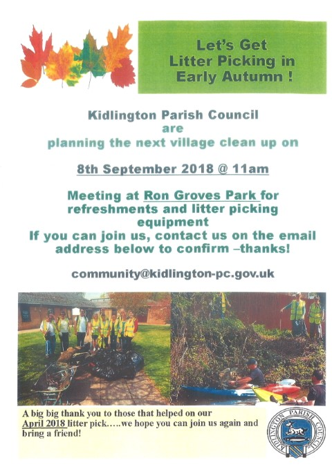 poster - village cleanup planned for 8th September 2018 at 11am. Meeting at Ron Groves Park. To confirm please email community@kidlington-pc.gov.uk