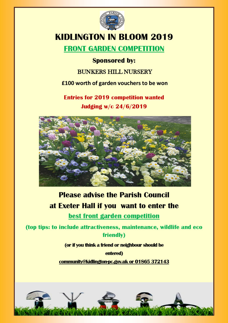 2019 Kidlington in Bloom Competition Poster