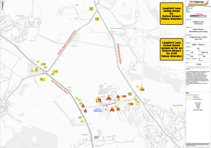 Langford Lane Road Closure Map